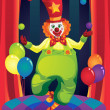Clown on stage — Stock Vector