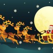 Santa riding sleigh with reindeers — Stock Vector