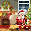 Royalty-Free Stock Imagem Vetorial: Santa Claus carrying Christmas presents