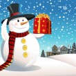 Snowman holding Christmas present — Stock Vector #8180603