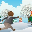 Children Playing Snowballs — Stock Vector