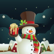 Snowman holding Christmas present — Stock Vector #8180865