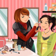 Makeup artist at work — Stock Vector