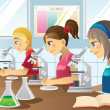 Kids in science lab — Stock Vector #8181000