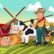 Farmer at the farm with animals - Stock Vector