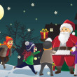 Santa Claus giving out Christmas presents to kids — Imagens vectoriais em stock