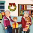 Grandparents and grandchildren on Christmas time — Stock Vector