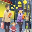 Stock Vector: Shopping family in winter