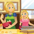 Mother daughter baking cookies - Stock Vector