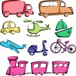 Stock Vector: Transportation vehicles icons