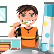 Boy brushing his teeth — Stock Vector