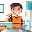 Stock Vector: Boy brushing his teeth