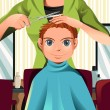 Stock Vector: Boy getting a haircut