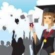 Royalty-Free Stock Vector Image: Graduation girl holding diploma