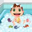 Baby taking bubble bath — Stock Vector
