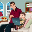 Stock Vector: Father and son using computer