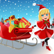Christmas girl pulling sleigh — Stockvectorbeeld