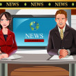 Stock Vector: TV news anchors