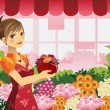 Florist girl — Stock Vector