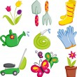 Spring gardening icons — Stock Vector