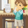 Stock Vector: Boy drinking water