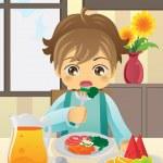 Boy eating vegetables — Stock Vector