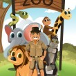 Zookeeper and wild animals — Stock Vector