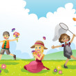 Happy children in Spring season - Stock Vector