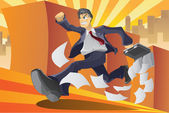 Businessman in a hurry — Stock Vector