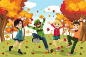 Autumn Fall season kids — Stock Vector