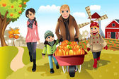 Family doing pumpkin patch — Stockvektor