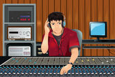 Music producer in studio — Stock Vector