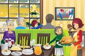 Thanksgiving family dinner — Stock Vector