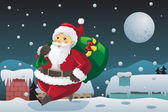 Santa Claus carrying Christmas presents — Stock Vector