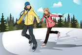 Young couple ice skating — Stock Vector