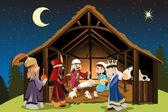 Jésus christ et les trois rois mages — Vecteur
