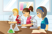 Kids in science lab — Stock Vector