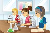 Niños en el laboratorio de ciencias — Vector de stock