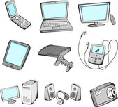 Electronics items icons — Stock Vector