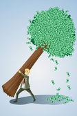 Businessman lifting money tree — Stock Vector