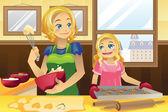 Mother daughter baking cookies — Stock Vector