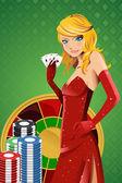 Poker woman — Stock Vector