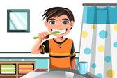 Boy brushing his teeth — Stock Vector