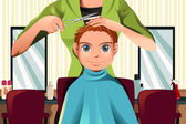 Boy getting a haircut — Stock Vector