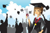 Graduation girl holding diploma — Stock Vector