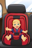 Boy in car seat — Stock Vector