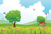 Spring season nature landscape — Stock Vector