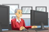 Senior man using computer — Stock Vector