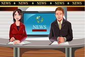 TV news anchors — Stock Vector