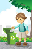 Jongen recycling papier — Stockvector